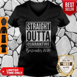 Straight Outta Quarantine Bartender 2020 V-neck