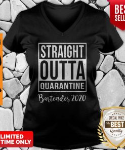 Straight Outta Quarantine Bartender 2020 V-neck