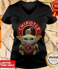 Awesome Baby Yoda Mask Hug Chipotle Mexican Grill V-Neck