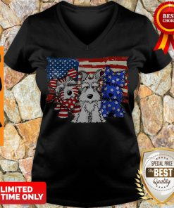 Official Schnauzer Dogs American Flag V-Neck