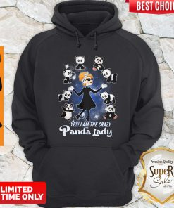Top She Yes I am the crazy panda lady hoodie