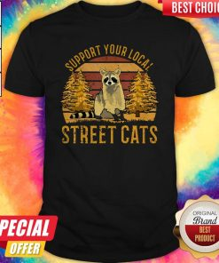 Top Support Your Local Street Cats Raccoon Sunset Shirt