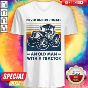 Never Underestimate An Old Man With A Tractor Vintage V-neck