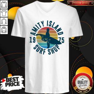 Official Amity Island Surf Shop 1975 Vintage V-neck
