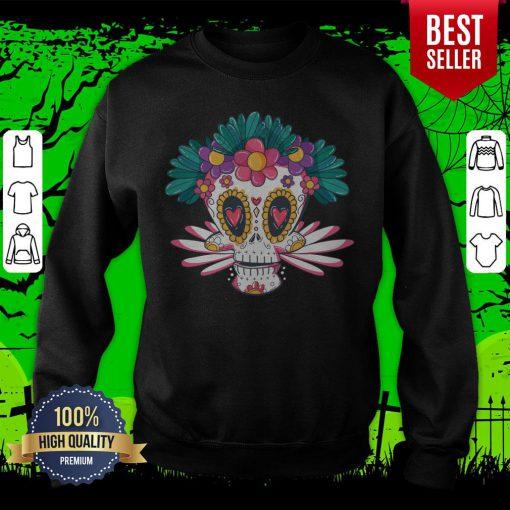 Colorful Sugar Skull Day Of Dead Muertos Sweatshirt