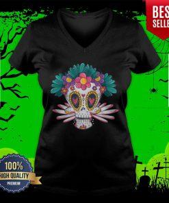 Colorful Sugar Skull Day Of Dead Muertos V-neck