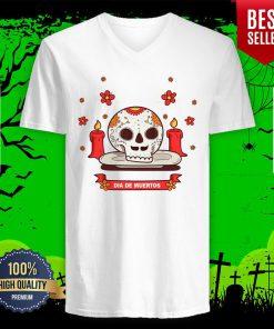 Dia De Muertos Sugar Skull Happy Mexican Holiday V-neck