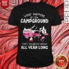 Flamingo What Happens At The Campground Gets Laughed About All Year Long Shirt