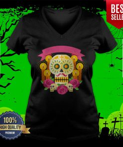 Happy Dia De Los Muertos Day Dead Sugar Skull V-neck