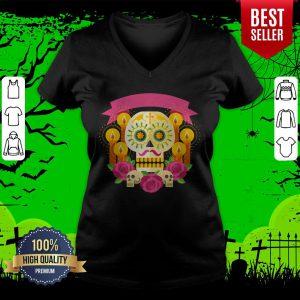 Happy Dia De Los Muertos Day Dead Sugar Skull V-neck