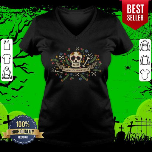 Sugar Skull Dia De Muertos In Mexican Holiday V-neck