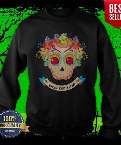 Sugar Skull Flower Dia De Los Muertos Sweatshirt