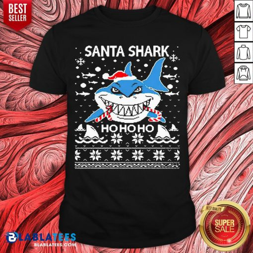 Pretty Santa Shark Ho Ho Ho Christmas Shirt - Design By Blablatees.com