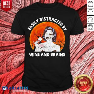 Funny Zombie Easily Distracted By Wine And Brains Moon Halloween Shirt - Design By Blablatees.com