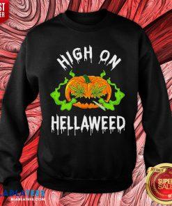 Funny Pumpkin High On Hellaweed Hallooween Sweatshirt - Design By Blablatees.com
