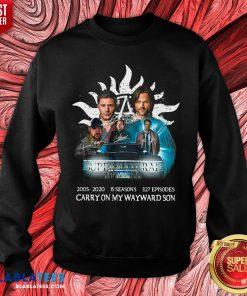 Hot Supernatural 2005 2020 15 Seasons 327 Episodes Carry On My Wayward Son Signatures Sweatshirt - Design By Blablatees.com