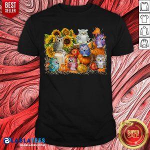 Top Owls Pumpkin Sunflower Halloween Shirt - Design By Blablatees.com
