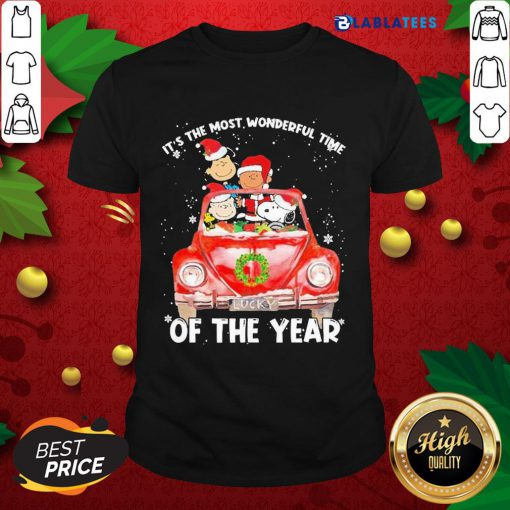 Snoopy And Friends Santa It'S The Most Wonderful Time Of The Year Christmas Shirt Design By Blablatee.com
