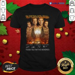 Supernatural 2005 2020 15 Seasons 327 Episodes Thank You For The Memories Signatures Shirt Design By Blablatee.com
