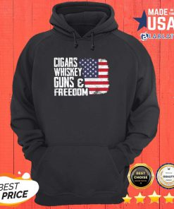 vNice Cigars Whiskey Guns And Freedom American Flag Shirt Design By BLablatee.com