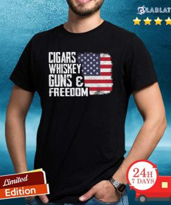 Nice Cigars Whiskey Guns And Freedom American Flag Shirt Design By BLablatee.com