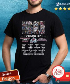 50 Years Of Colorado Avalanche The Greatest NHL Teams Thank You For The Memories Signatures Shirt Design By Blablatee.com
