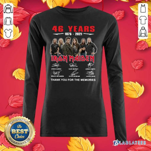 46 Years 1975 2021 Iron Maiden Thank You For The Memories Signatures Shirt Design By Blablatee.com