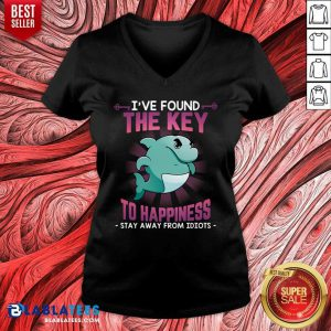 Dolphin Ive Found The Key To Happiness Stay Away Idiots V-neck - Design By Blablatees.com