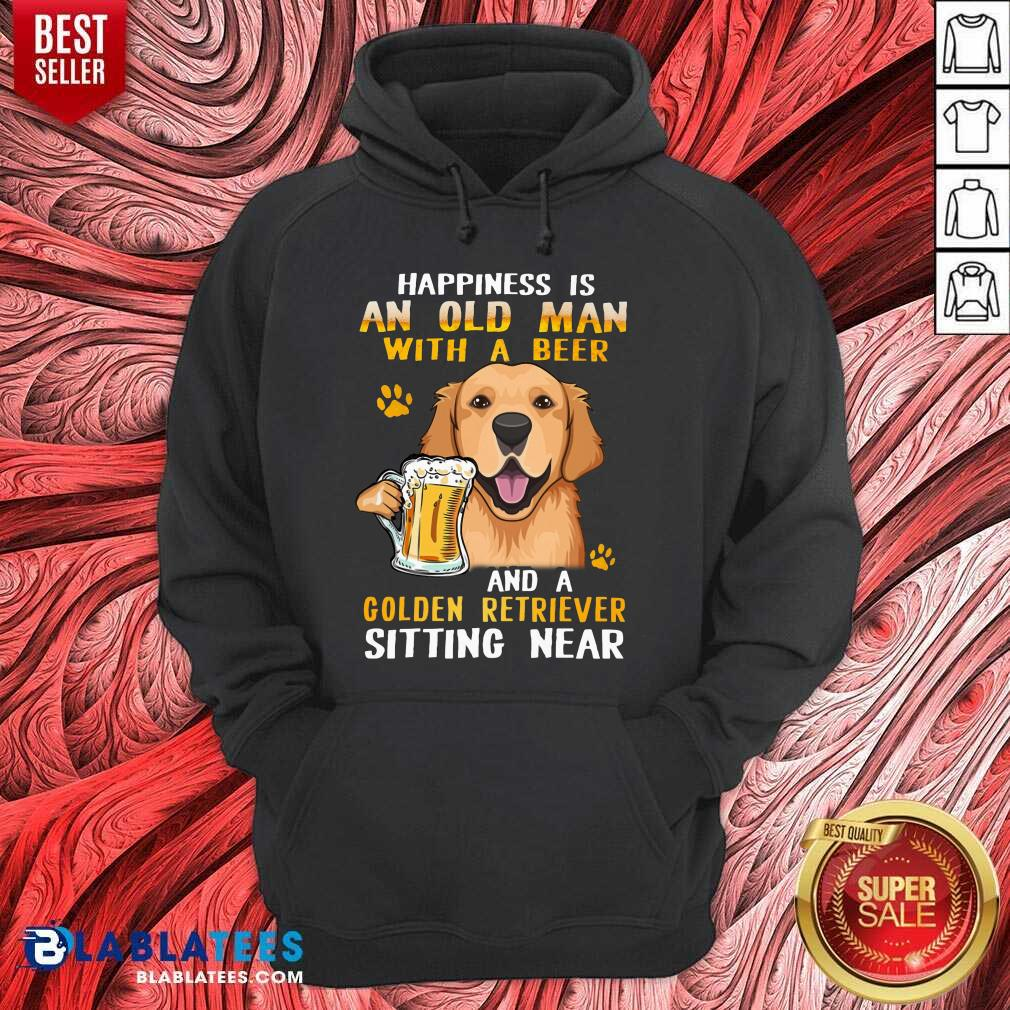 -Golden Retriever Sitting Near Old Man With A Beer Hoodie Design By Blablatees.com