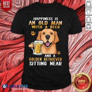 Golden Retriever Sitting Near Old Man With A Beer Shirt - Design By Blablatees.com