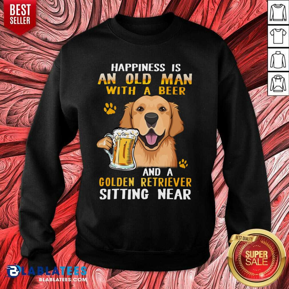 Golden Retriever Sitting Near Old Man With A Beer Sweatshirt - Design By Blablatees.com