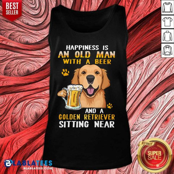 Golden Retriever Sitting Near Old Man With A Beer Tank Top- Design By Blablatees.com