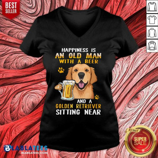 Golden Retriever Sitting Near Old Man With A Beer V-neck- Design By Blablatees.com