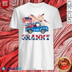 Granny Car Flowers American 4th Of July Shirt - Design By Blablatees.com