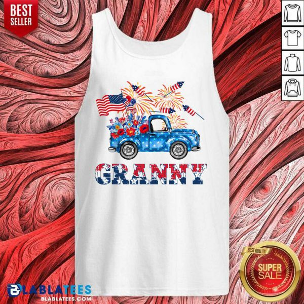 Granny Car Flowers American 4th Of July Tank Top - Design By Blablatees.com