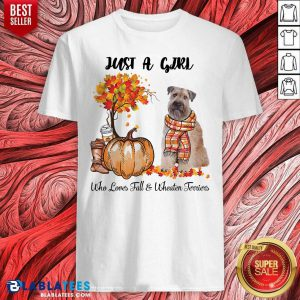 Just A Girl Who Love Fall And Wheaten Terrier Halloween Shirt - Design By Blablatees.com