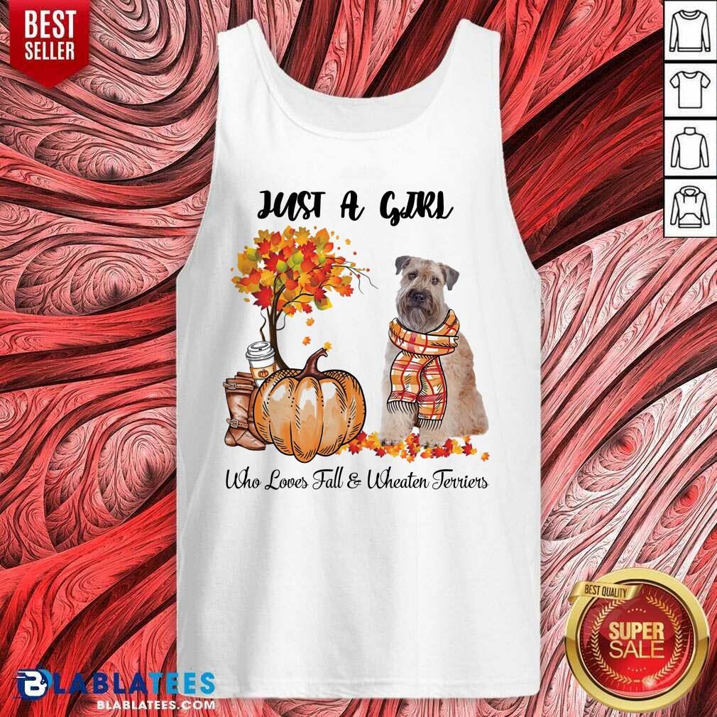 Just A Girl Who Love Fall And Wheaten Terrier Halloween Tank Top - Design By Blablatees.com