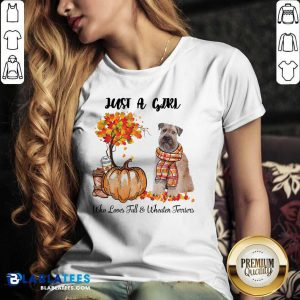 Just A Girl Who Love Fall And Wheaten Terrier Halloween V-neck- Design By Blablatees.com
