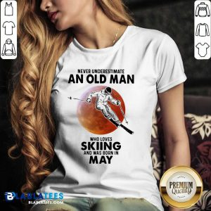 Never Underestimate An Old Man Who Loves Skiing April Blood Moon V-neck - Design By Blablatees.com